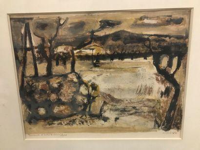 Raymond GUERRIER(1920-2002)  Paysage provençal...