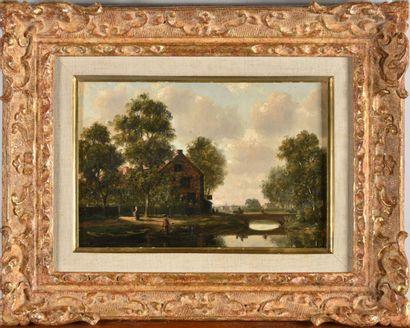 Ecole française XIXe siècle  Paysage au pont,...