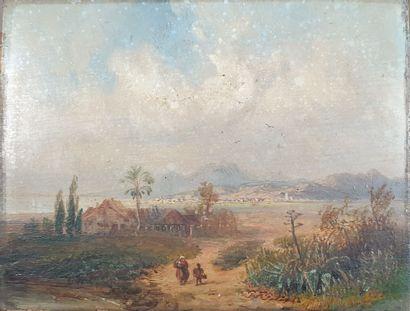 Ecole FRANCAISE du XIXe siècle  Paysage aux...
