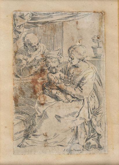 Mère et son enfant (Sainte famille?)  Gravure,...