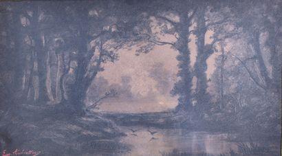 Eugène AUBERTIER (XIXe)  Paysage nocturne...