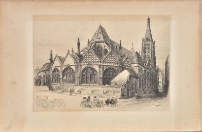 - Vue de la Sainte Chapelle sur soie  - Saint-séverin,...