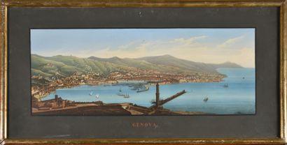 Vue de Gênes  Gravure en couleur  XIXe siècle...