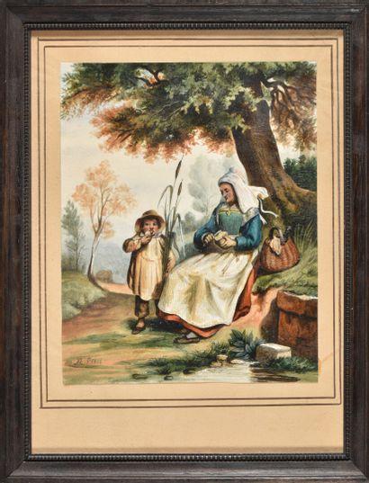 Paire d'aquarelles à sujet populaire, Famille...