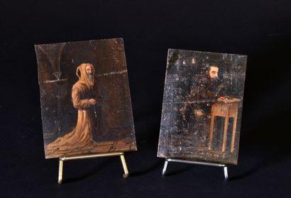 Deux religieux en prière  Une huile sur carton...