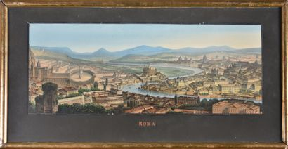 Vue de Rome  Gravure en couleur  XIXe siècle...