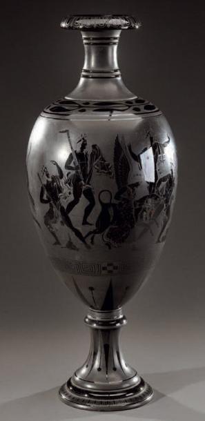 Grand vase ovoïde en grès vernissé noir à...