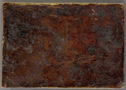 Exceptionnelle plaque en cuivre champlevé, émaillé, gravé et doré représentant la...