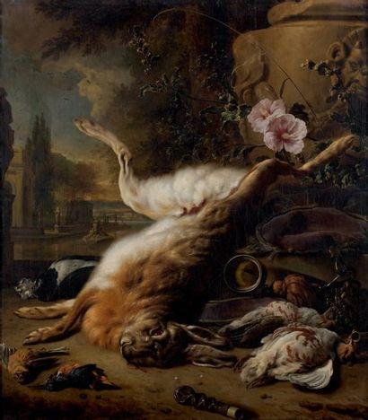 Jan WEENIX (Amsterdam, 1642 - Amsterdam, 1719) Trophée de chasse au lièvre, au bruant...