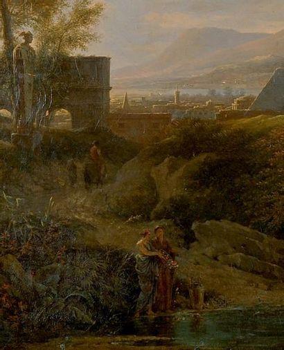 Pierre-Henri de VALENCIENNES (1750-1819) Paysage classique animé Toile Signé en bas...
