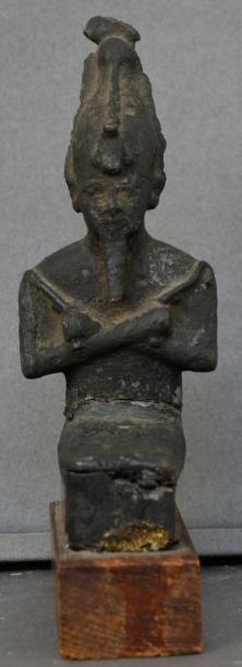 Fragment d'Osiris momiforme assis Bronze à patine noire. Cassé Egypte, Basse Epoque,...