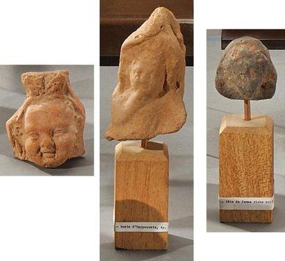 Ensemble de trois têtes dont une figure vraisemblablement...