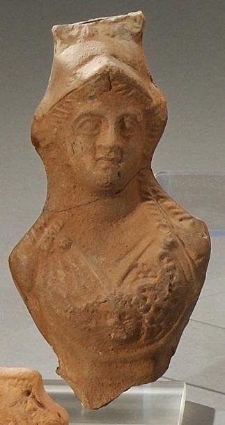 Buste d'Athéna, la tête de 3/4 gauche Terre...