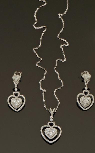 Demi-parure composée d'un collier et d'une...
