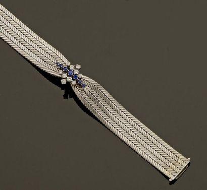Bracelet en or gris, maille paillasson, avec...