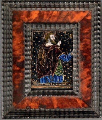Plaque en émail polychrome avec rehauts d'or...