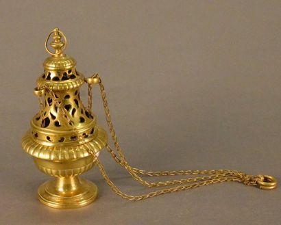 Encensoir en laiton ajouré XVII e siècle...