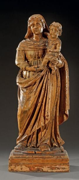 Statue de Vierge à l'Enfant en bois sculpté...