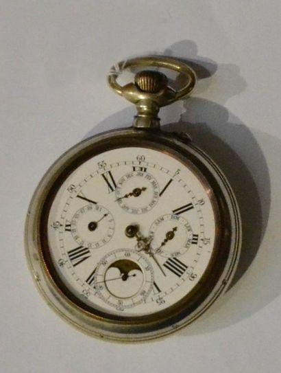 Importante montre de gousset en métal (manque le verre), chiffres romains, pour...