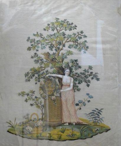 Broderie en soie représentant une jeune femme...