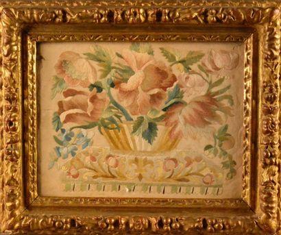 Broderie en soie appliquée de décor d'un...