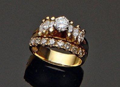 Bague double anneau en or jaune bas titre,...