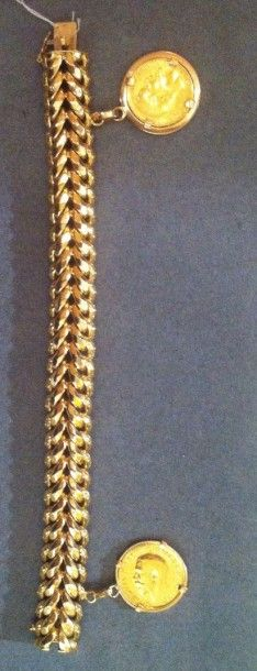 Bracelet gourmette en or jaune avec huit...