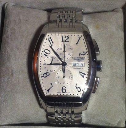 LONGINES Bracelet montre d'homme, modèle «Evidenza» Boîtier et bracelet acier, boucle...