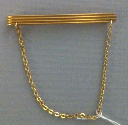 Pince à cravate en métal doré à godrons,...