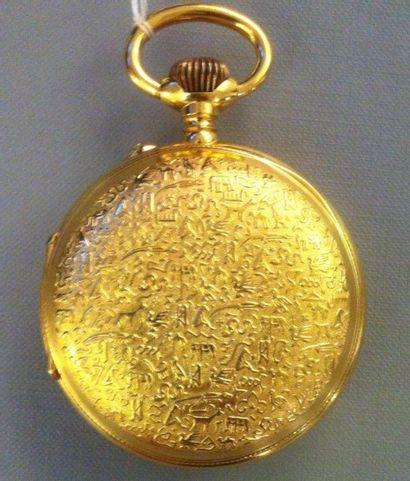 Importante et originale montre de gousset en métal doré le fond est décoré de hiéroglyphes...