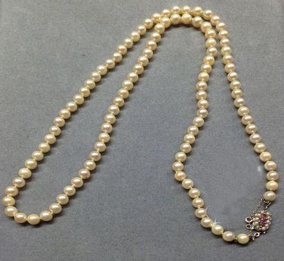 Sautoir choker en perles de culture blanches,...
