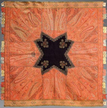 Châle cachemire carré, Inde, vers 1850, réserve...
