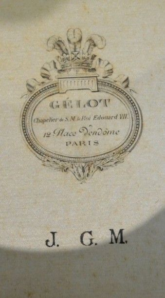 Haut-de-forme, Gélot, Place Vendôme à Paris fournisseur de sa majesté le Roi Edouard...