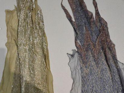 Deux devants de robes du soir brodés, Fritel...