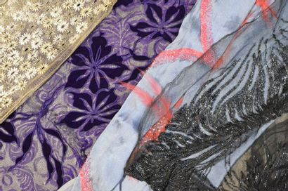 Quatre échantillons de robes du soir brodés, Fritel et Hurel, vers 1920-1925, l'un...