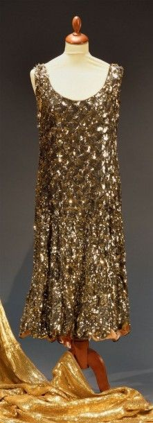 Robe du soir, vers 1925, robe sans manches,...