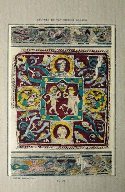 ERNST (H.) Tapisserie et étoffes Coptes, Paris, Ernst, s.d.; 48 planches en noir...