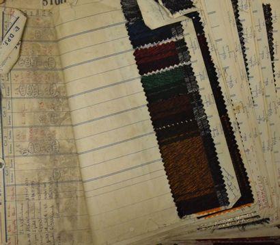 Réunion d'archives textiles, échantillons...