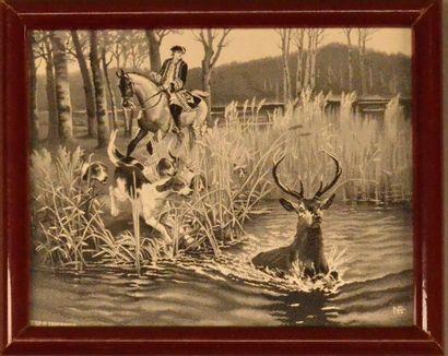 Quatre tableaux tissés encadrés, principalement Neyret Frères, Saint Étienne, 1900-1930,...
