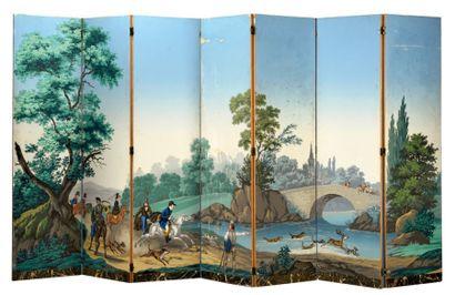 Paysages à chasses, partie de papier peint...