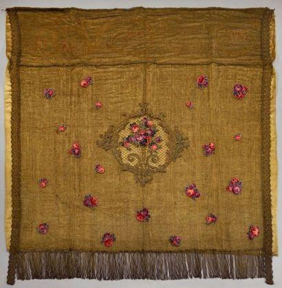 Panneau brodé en application, vers 1900,...