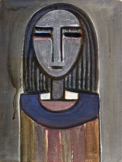 Wifredo LAM (1902-1982) Femme à la collerette bleue, circa 1939 Gouache H. 58,5 cm...