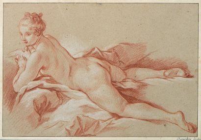 Francois Boucher (1703-1770) Venus à la colombe, vers 1740-1745 Sanguine et rehauts...