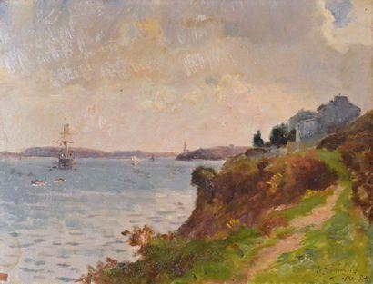 Gustave Edouard LE SENECHAL DE KERDREORET (1840-1920) Vue de la rade de Brest Huile...