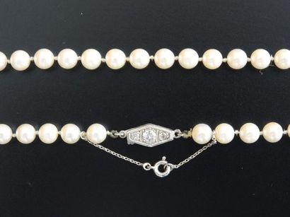 Sautoir de perles de culture, fermoir losangique...