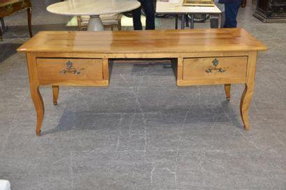 Grande table bureau en bois naturel, deux...