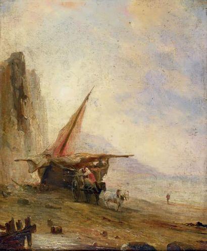 Théodore GUDIN (1802-1980) Retour de pêche, chargement de la charrette Huile sur...