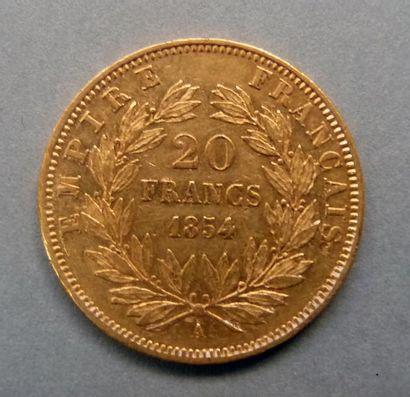 Une pièce en or jaune, 20 Francs, Napoléon...