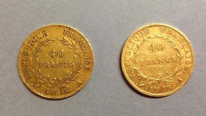 Deux pièces en or jaune   - 40 FRANCS Bonaparte...