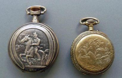 Deux montres gousset en métal à décor éq...